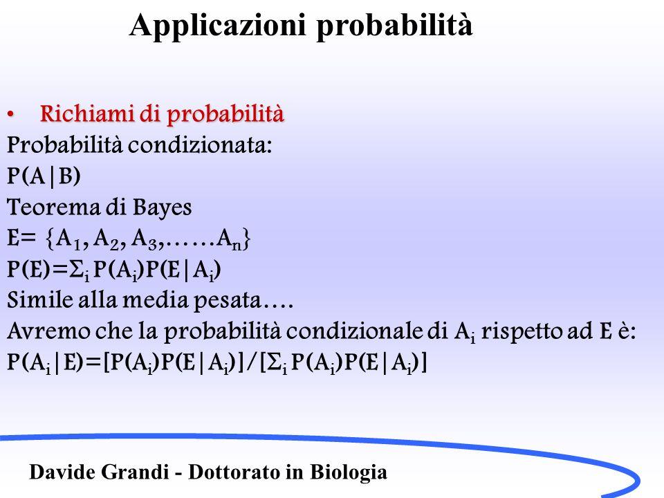 Davide Grandi - Dottorato in Biologia esempioesempio Matricole di facoltà di ingegneria: 10% classico P(A 1 )=0.1 50% scientificoP(A 2 )=0.5 40% istituto tecnicoP(A 3 )=0.4 La probabilità che uno studente si laurei in 5 anni (E) è: Classico 50%P(E|A 1 )=0.5 Scientifico 40%P(E|A 2 )=0.4 Tecnico 10%P(E|A 3 )=0.1 Applicazioni probabilità