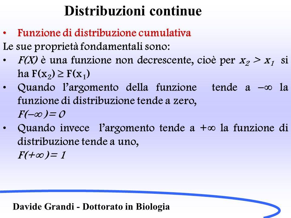Distribuzioni continue Davide Grandi - Dottorato in Biologia Funzione di distribuzione cumulativaFunzione di distribuzione cumulativa Le sue proprietà fondamentali sono: F(X) è una funzione non decrescente, cioè per x 2 > x 1 si ha F(x 2 ) F(x 1 ) Quando largomento della funzione tende a la funzione di distribuzione tende a zero, F( )= 0 Quando invece largomento tende a + la funzione di distribuzione tende a uno, F(+ )= 1