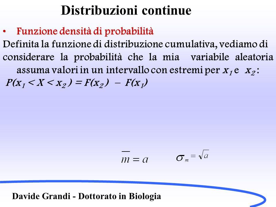 Distribuzioni continue Davide Grandi - Dottorato in Biologia Funzione densità di probabilitàFunzione densità di probabilità Definita la funzione di distribuzione cumulativa, vediamo di considerare la probabilità che la mia variabile aleatoria assuma valori in un intervallo con estremi per x 1 e x 2 : P(x 1 < X < x 2 ) = F(x 2 ) – F(x 1 )