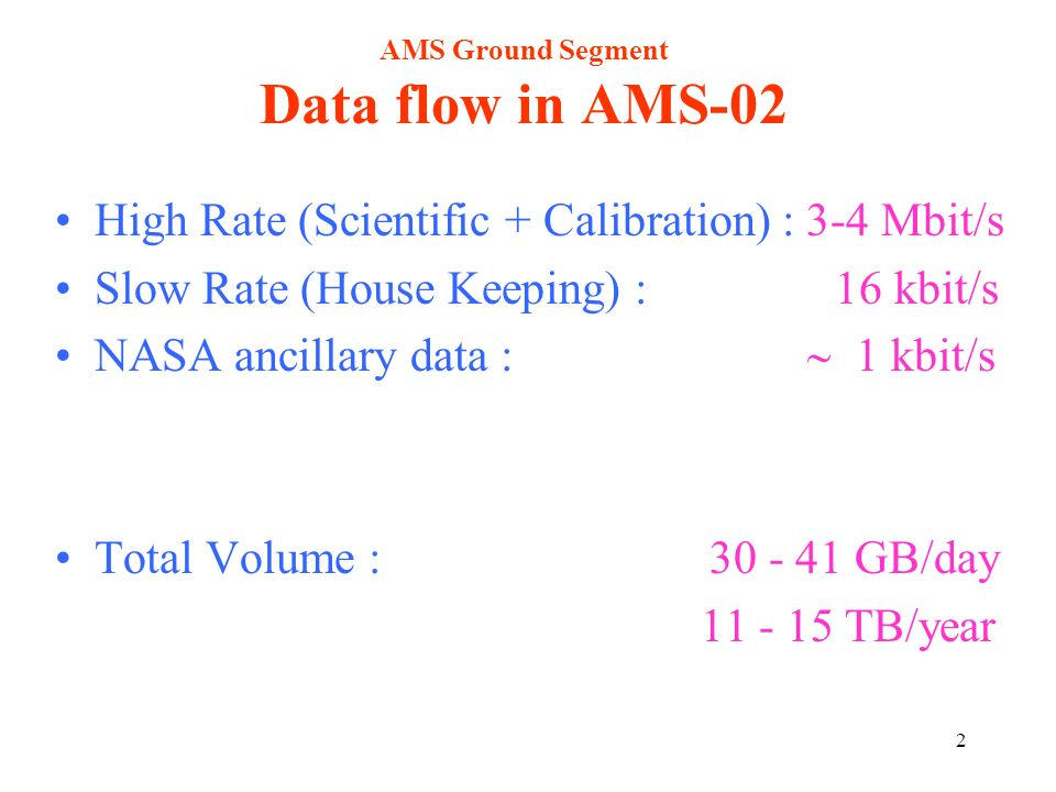 2 AMS Ground Segment Data flow in AMS-02 High Rate (Scientific + Calibration) : 3-4 Mbit/s Slow Rate (House Keeping) : 16 kbit/s NASA ancillary data :
