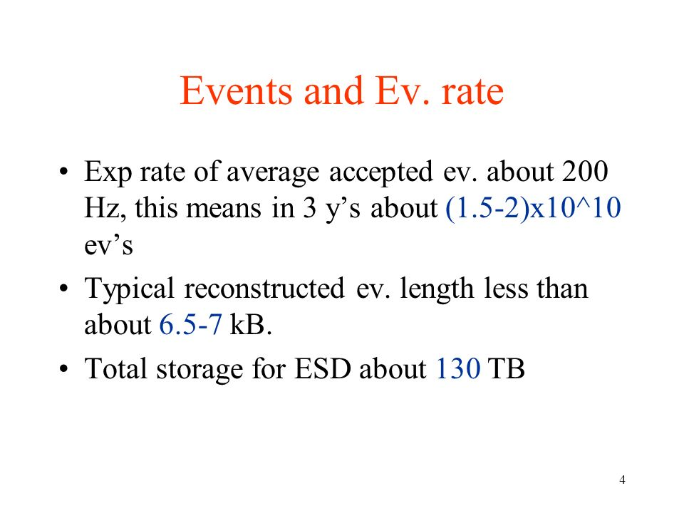4 Events and Ev. rate Exp rate of average accepted ev.