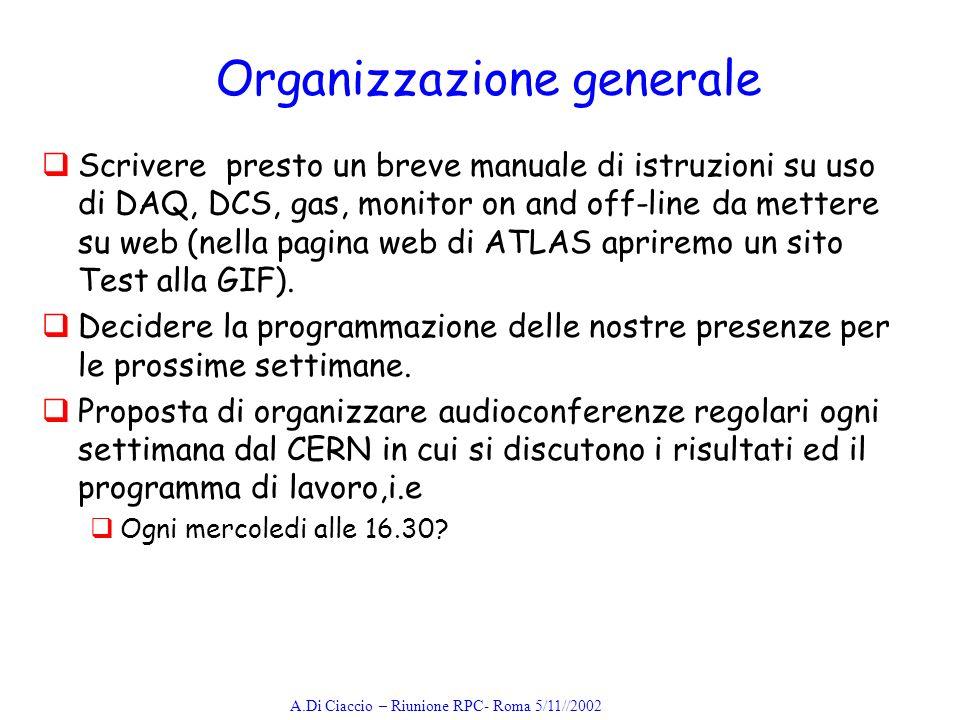 A.Di Ciaccio – Riunione RPC- Roma 5/11//2002 Organizzazione generale Scrivere presto un breve manuale di istruzioni su uso di DAQ, DCS, gas, monitor on and off-line da mettere su web (nella pagina web di ATLAS apriremo un sito Test alla GIF).