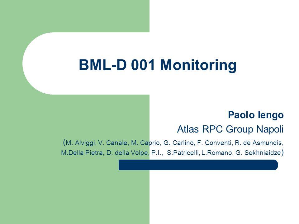 BML-D 001 Monitoring Paolo Iengo Atlas RPC Group Napoli ( M. Alviggi, V. Canale, M. Caprio, G. Carlino, F. Conventi, R. de Asmundis, M.Della Pietra, D