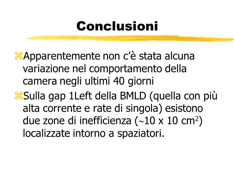 Conclusioni zApparentemente non cè stata alcuna variazione nel comportamento della camera negli ultimi 40 giorni zSulla gap 1Left della BMLD (quella c