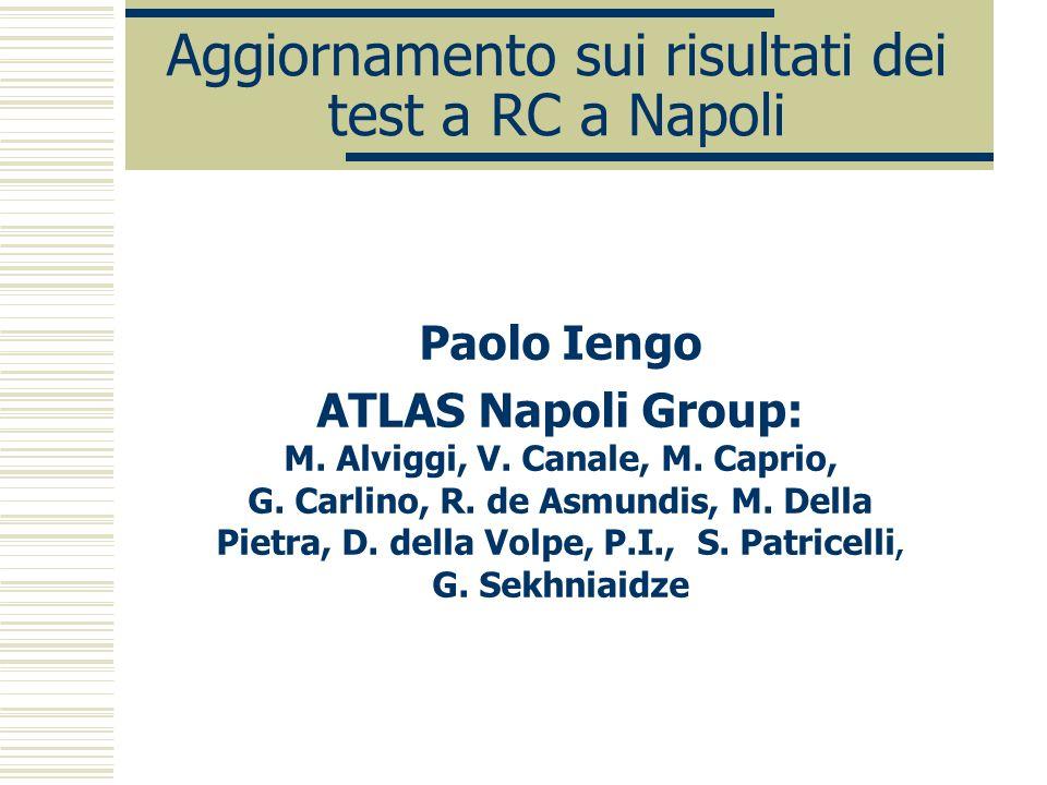 Aggiornamento sui risultati dei test a RC a Napoli Paolo Iengo ATLAS Napoli Group: M.