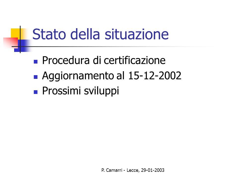 P. Camarri - Lecce, 29-01-2003 Stato della situazione Procedura di certificazione Aggiornamento al 15-12-2002 Prossimi sviluppi