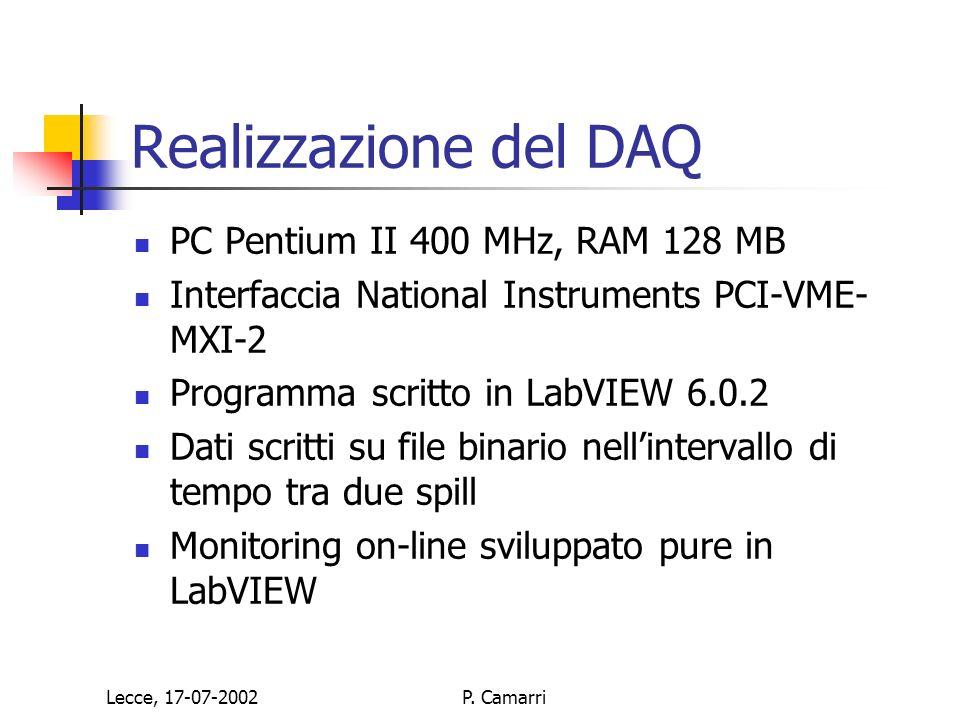 Lecce, 17-07-2002P. Camarri Realizzazione del DAQ PC Pentium II 400 MHz, RAM 128 MB Interfaccia National Instruments PCI-VME- MXI-2 Programma scritto