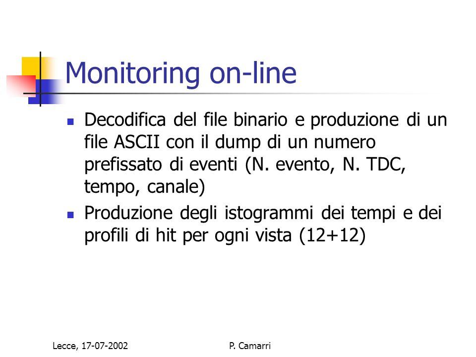 Lecce, 17-07-2002P. Camarri Monitoring on-line Decodifica del file binario e produzione di un file ASCII con il dump di un numero prefissato di eventi