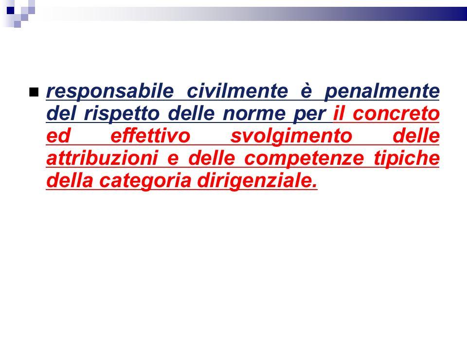 responsabile civilmente è penalmente del rispetto delle norme per il concreto ed effettivo svolgimento delle attribuzioni e delle competenze tipiche d