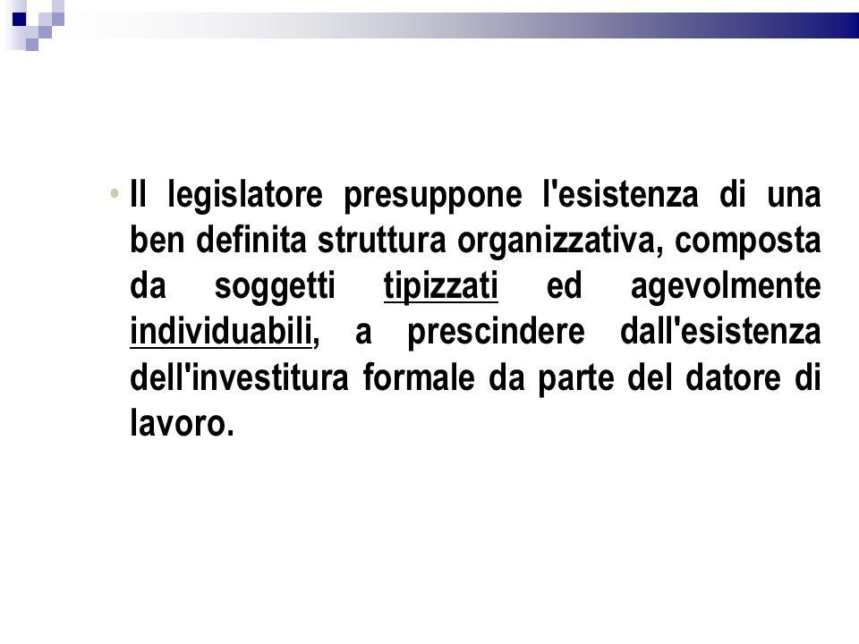 Il legislatore presuppone l'esistenza di una ben definita struttura organizzativa, composta da soggetti tipizzati ed agevolmente individuabili, a pres