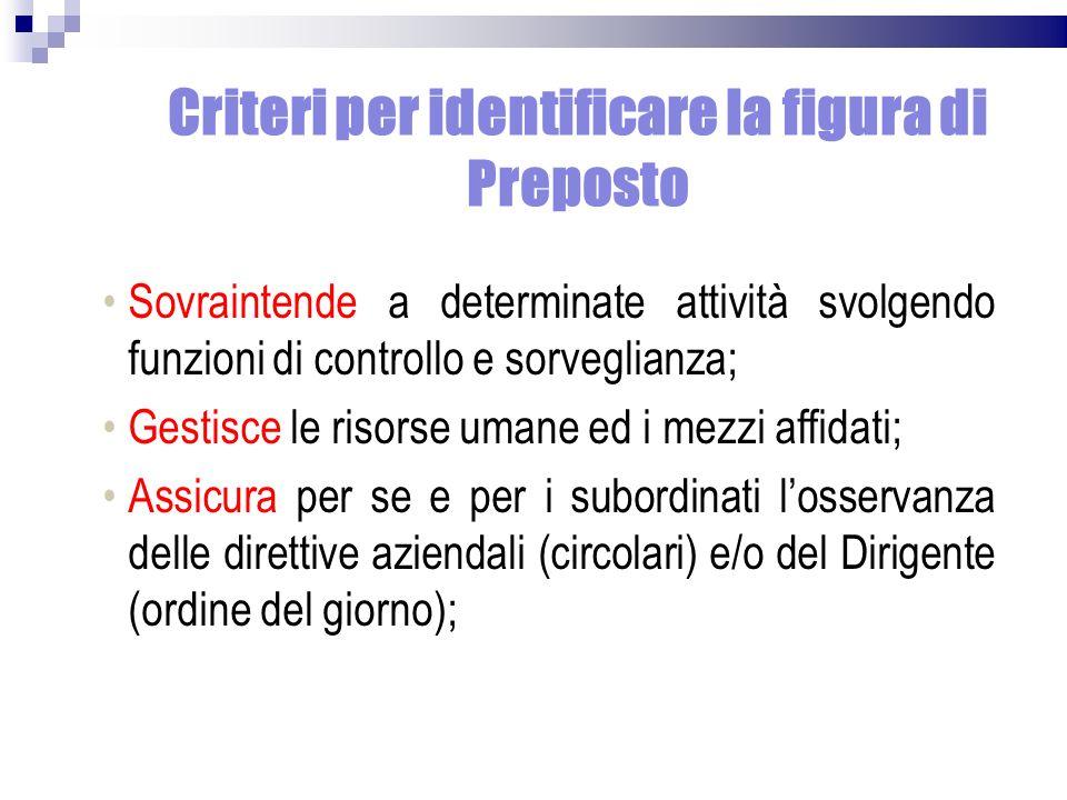 Criteri per identificare la figura di Preposto Sovraintende a determinate attività svolgendo funzioni di controllo e sorveglianza; Gestisce le risorse