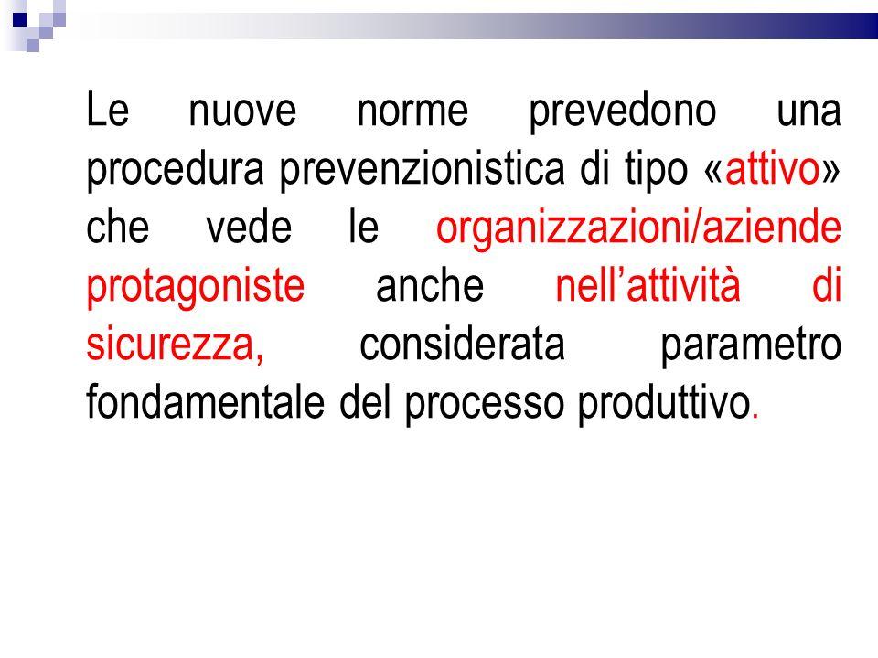 Le nuove norme prevedono una procedura prevenzionistica di tipo «attivo» che vede le organizzazioni/aziende protagoniste anche nellattività di sicurez