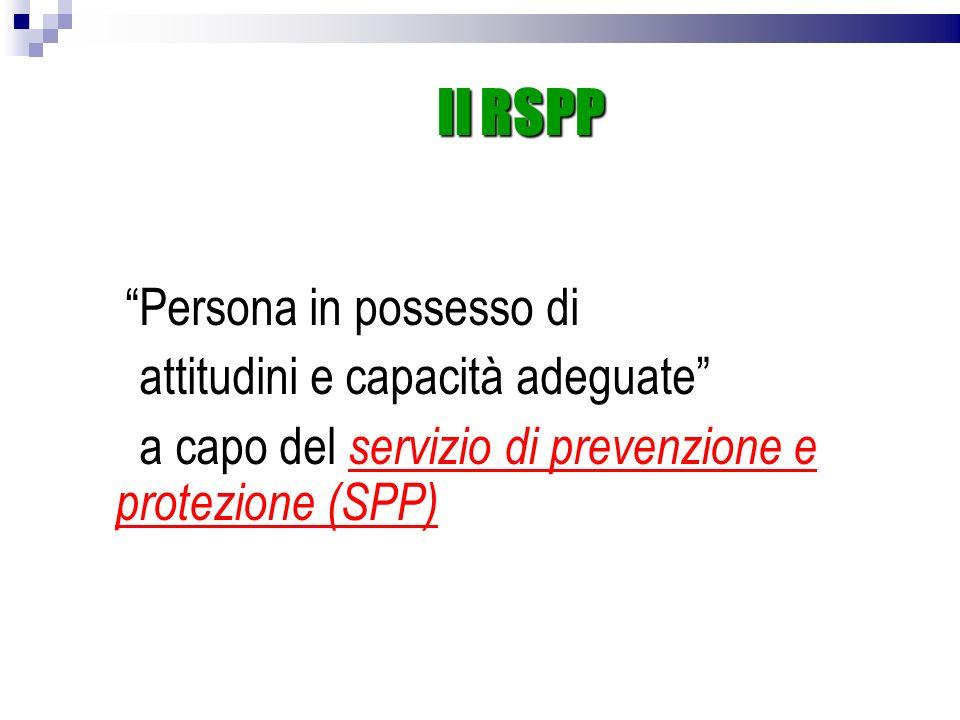 Il RSPP Persona in possesso di attitudini e capacità adeguate a capo del servizio di prevenzione e protezione (SPP)