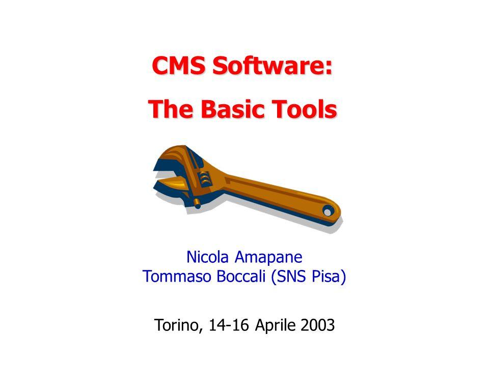 CMS Software: The Basic Tools Nicola Amapane Tommaso Boccali (SNS Pisa) Torino, 14-16 Aprile 2003