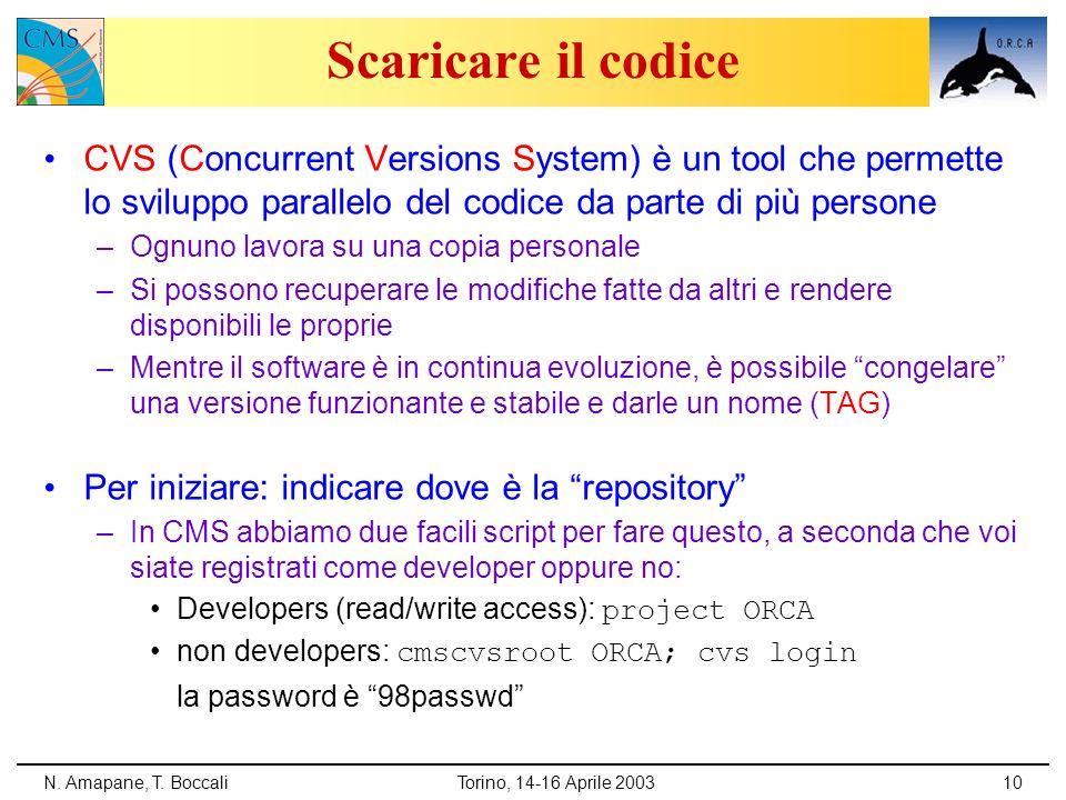 N. Amapane, T. BoccaliTorino, 14-16 Aprile 200310 Scaricare il codice CVS (Concurrent Versions System) è un tool che permette lo sviluppo parallelo de