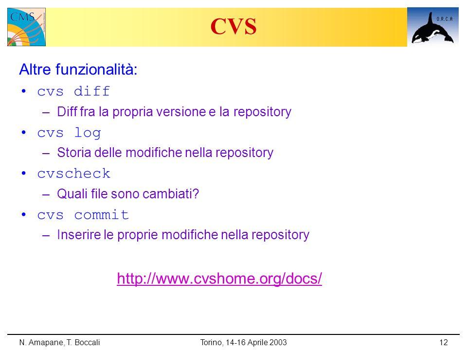 N. Amapane, T. BoccaliTorino, 14-16 Aprile 200312 CVS Altre funzionalità: cvs diff –Diff fra la propria versione e la repository cvs log –Storia delle