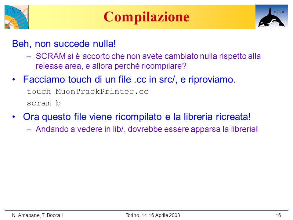 N. Amapane, T. BoccaliTorino, 14-16 Aprile 200316 Compilazione Beh, non succede nulla! –SCRAM si è accorto che non avete cambiato nulla rispetto alla