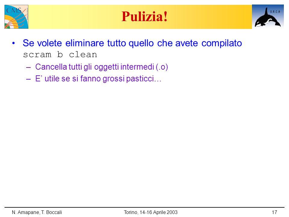 N. Amapane, T. BoccaliTorino, 14-16 Aprile 200317 Pulizia! Se volete eliminare tutto quello che avete compilato scram b clean –Cancella tutti gli ogge