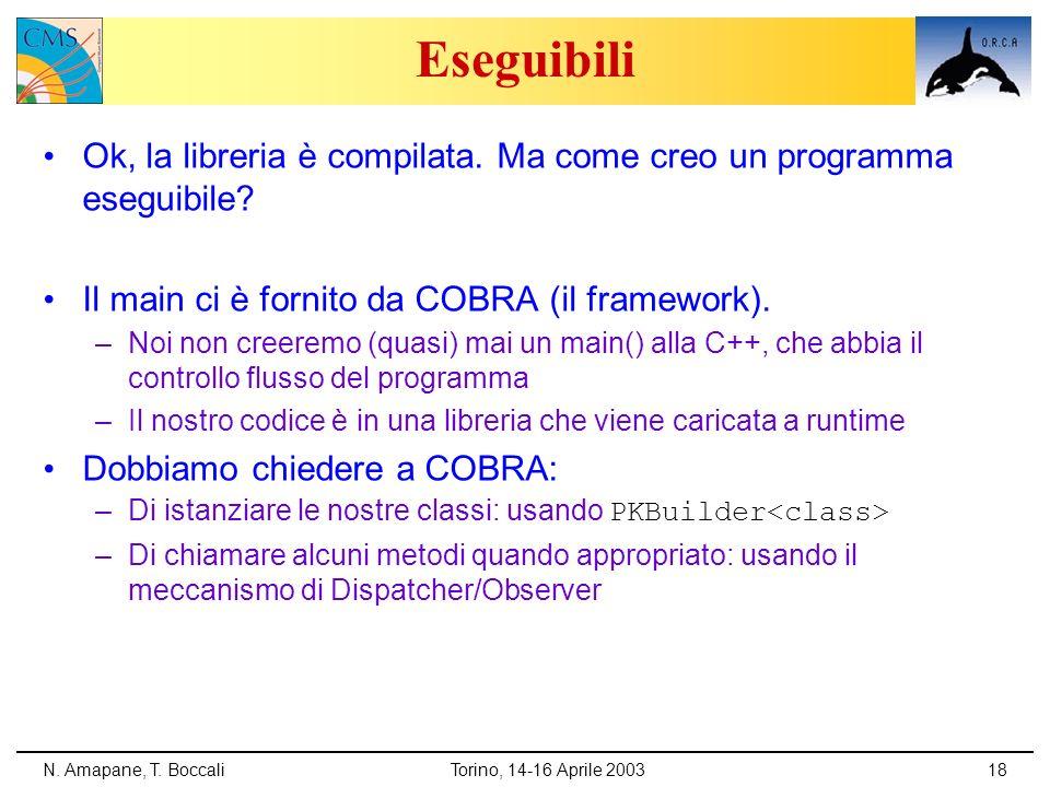 N. Amapane, T. BoccaliTorino, 14-16 Aprile 200318 Eseguibili Ok, la libreria è compilata. Ma come creo un programma eseguibile? Il main ci è fornito d