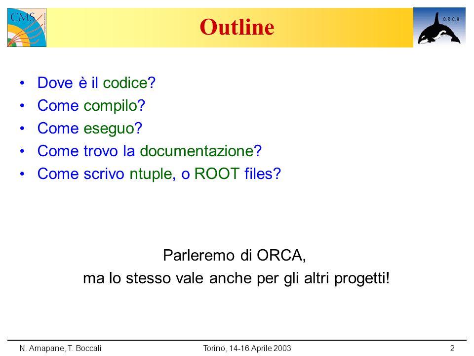 N. Amapane, T. BoccaliTorino, 14-16 Aprile 20032 Outline Dove è il codice? Come compilo? Come eseguo? Come trovo la documentazione? Come scrivo ntuple