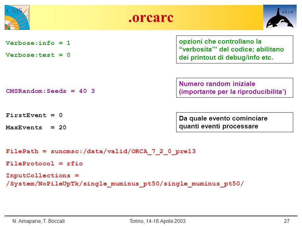 N. Amapane, T. BoccaliTorino, 14-16 Aprile 200327.orcarc Verbose:info = 1 Verbose:test = 0 CMSRandom:Seeds = 40 3 FirstEvent = 0 MaxEvents = 20 FilePa