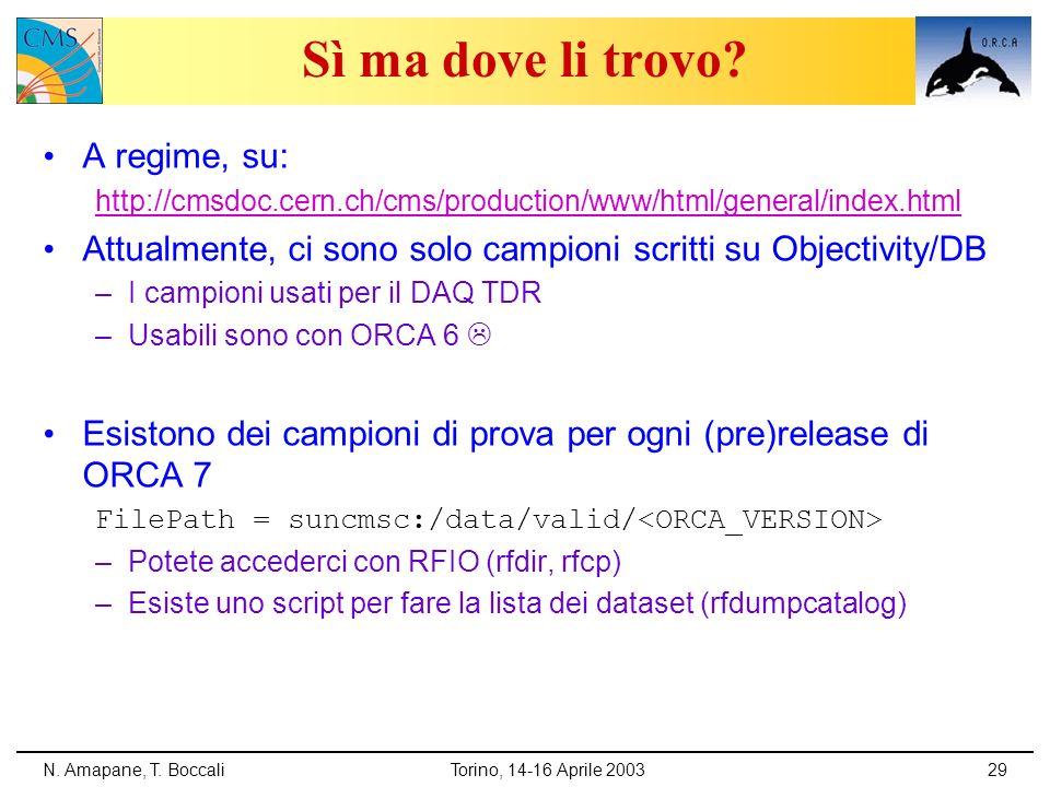 N. Amapane, T. BoccaliTorino, 14-16 Aprile 200329 Sì ma dove li trovo? A regime, su: http://cmsdoc.cern.ch/cms/production/www/html/general/index.html