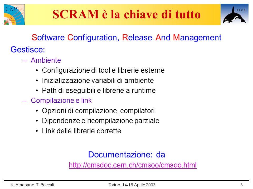 N. Amapane, T. BoccaliTorino, 14-16 Aprile 20033 SCRAM è la chiave di tutto Software Configuration, Release And Management Gestisce: –Ambiente Configu