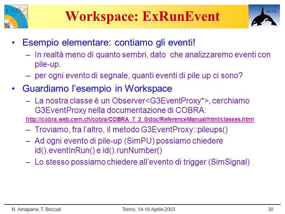 N. Amapane, T. BoccaliTorino, 14-16 Aprile 200330 Workspace: ExRunEvent Esempio elementare: contiamo gli eventi! –In realtà meno di quanto sembri, dat