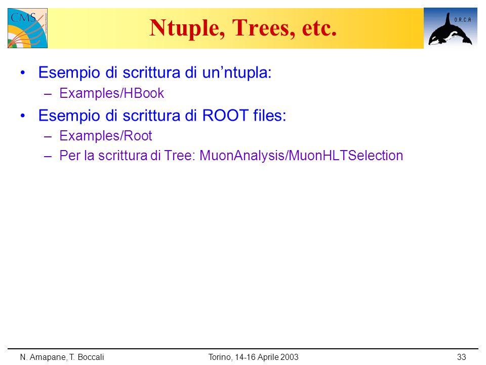 N. Amapane, T. BoccaliTorino, 14-16 Aprile 200333 Ntuple, Trees, etc. Esempio di scrittura di unntupla: –Examples/HBook Esempio di scrittura di ROOT f