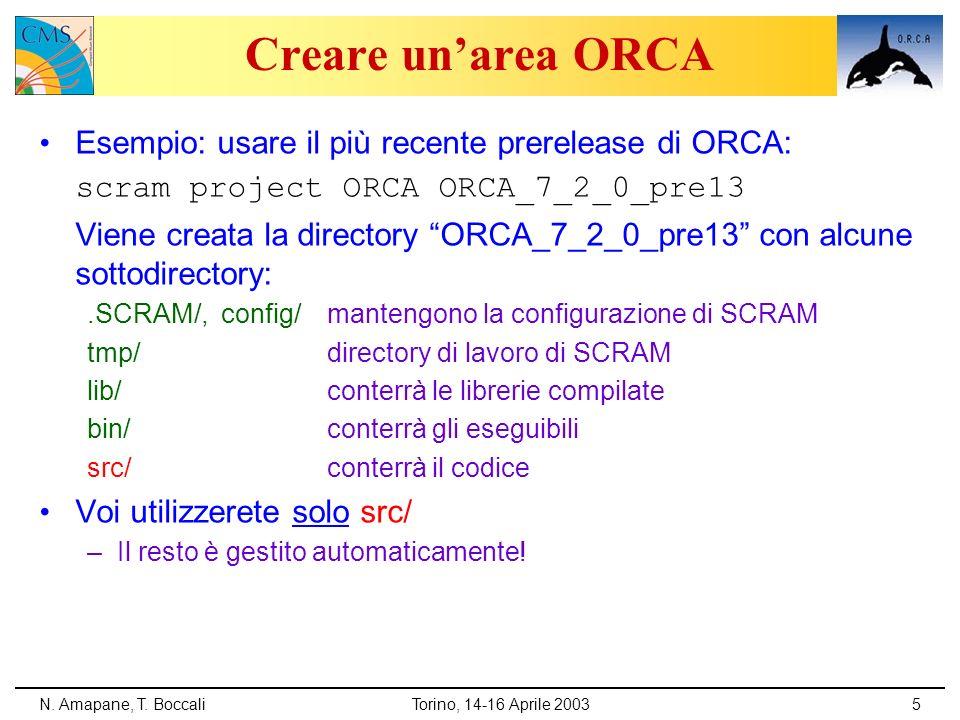 N. Amapane, T. BoccaliTorino, 14-16 Aprile 20035 Creare unarea ORCA Esempio: usare il più recente prerelease di ORCA: scram project ORCA ORCA_7_2_0_pr