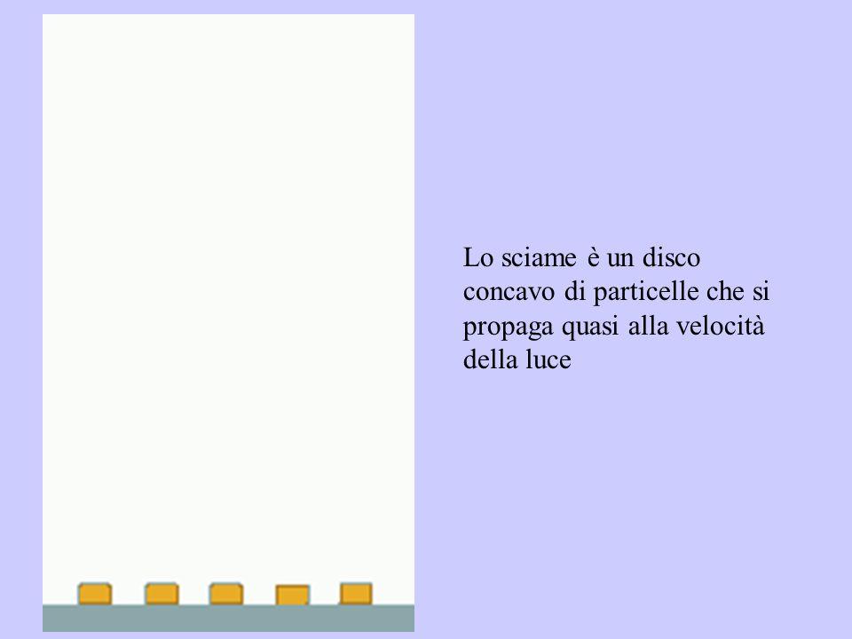 Lo sciame è un disco concavo di particelle che si propaga quasi alla velocità della luce