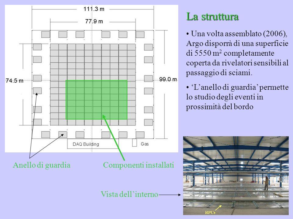 La struttura Una volta assemblato (2006), Argo disporrà di una superficie di 5550 m 2 completamente coperta da rivelatori sensibili al passaggio di sc