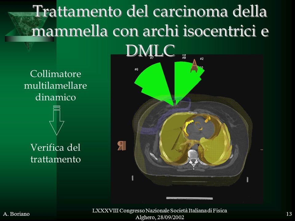 A. Boriano LXXXVIII Congresso Nazionale Società Italiana di Fisica Alghero, 28/09/2002 13 Collimatore multilamellare dinamico Verifica del trattamento