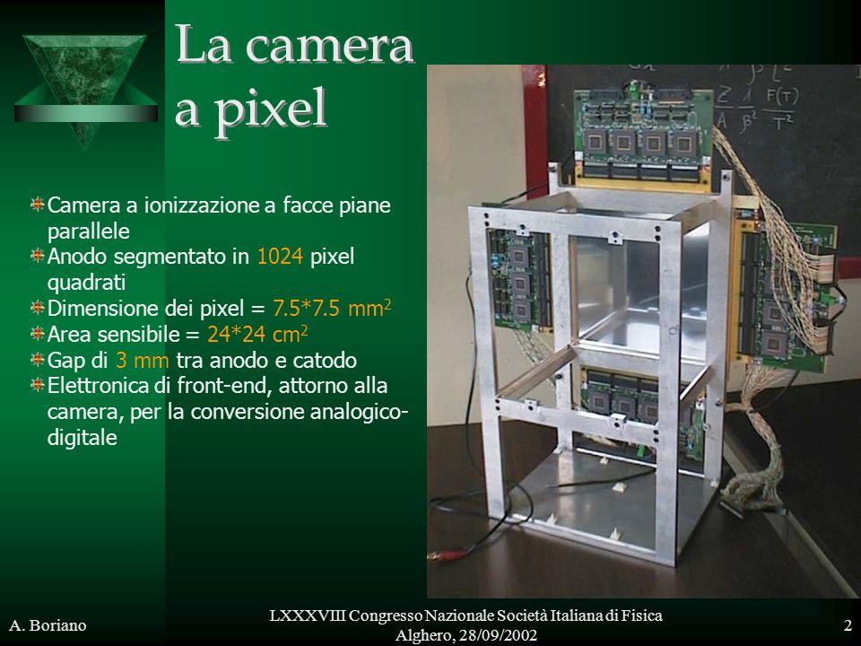 A. Boriano LXXXVIII Congresso Nazionale Società Italiana di Fisica Alghero, 28/09/2002 2 Camera a ionizzazione a facce piane parallele Anodo segmentat
