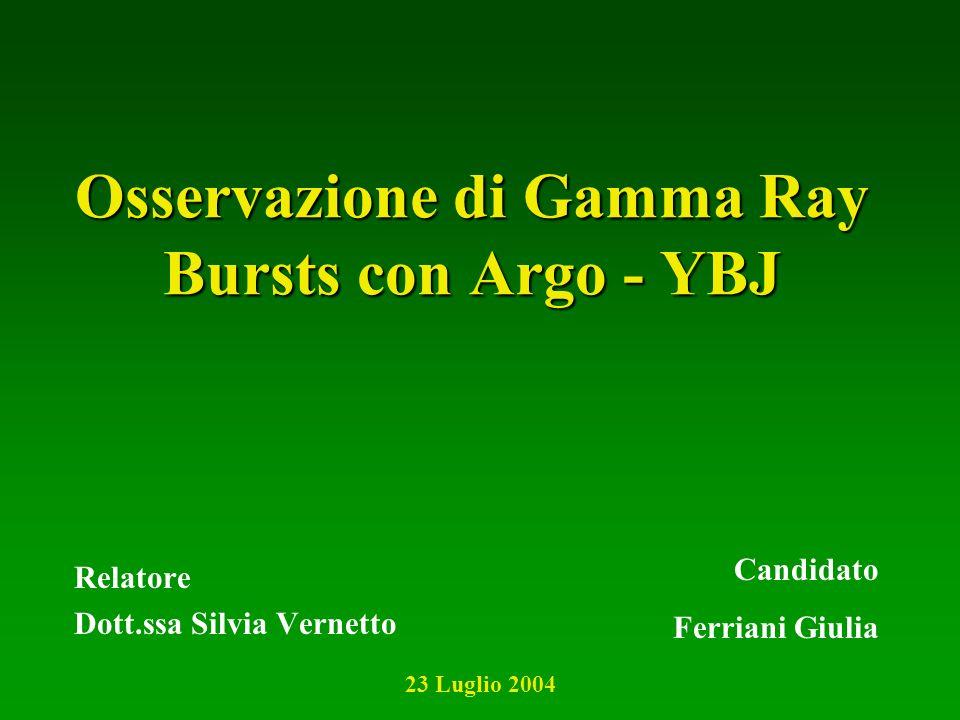Osservazione di Gamma Ray Bursts con Argo - YBJ Relatore Dott.ssa Silvia Vernetto Candidato Ferriani Giulia 23 Luglio 2004