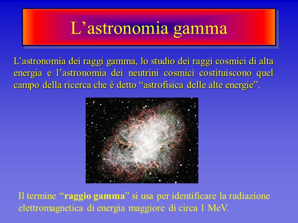 Lastronomia gamma Lastronomia dei raggi gamma, lo studio dei raggi cosmici di alta energia e lastronomia dei neutrini cosmici costituiscono quel campo