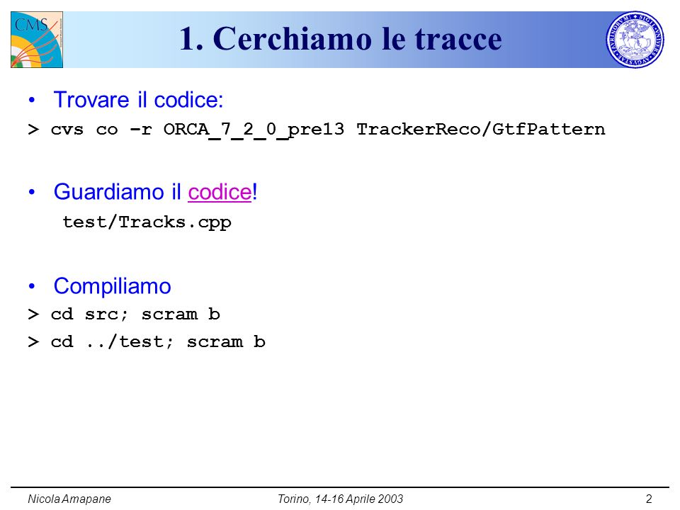 Nicola AmapaneTorino, 14-16 Aprile 20032 1.