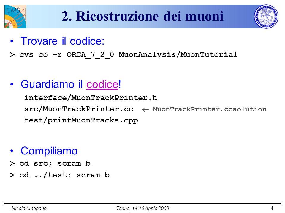 Nicola AmapaneTorino, 14-16 Aprile 20035 2.Ricostruzione dei muoni (II) Specificare campione etc.