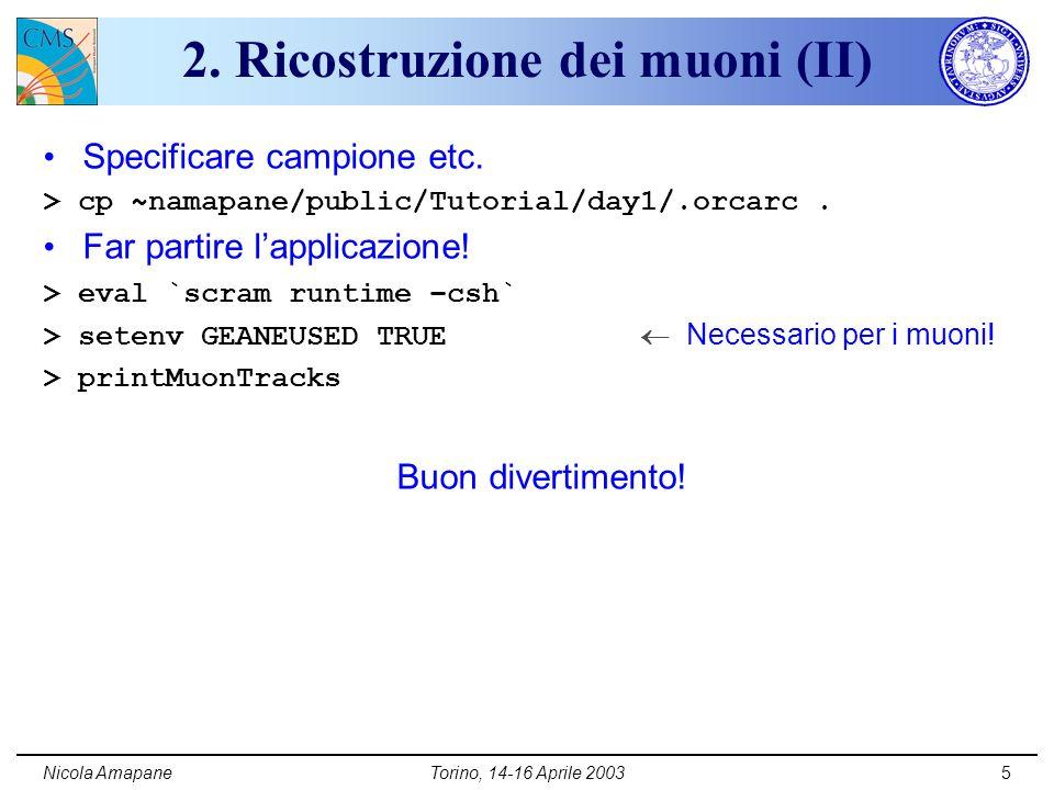 Nicola AmapaneTorino, 14-16 Aprile 20035 2. Ricostruzione dei muoni (II) Specificare campione etc.