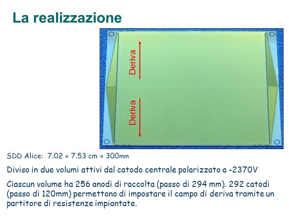 SDD Alice: 7.02 7.53 cm 300 mm Diviso in due volumi attivi dal catodo centrale polarizzato a -2370V Ciascun volume ha 256 anodi di raccolta (passo di