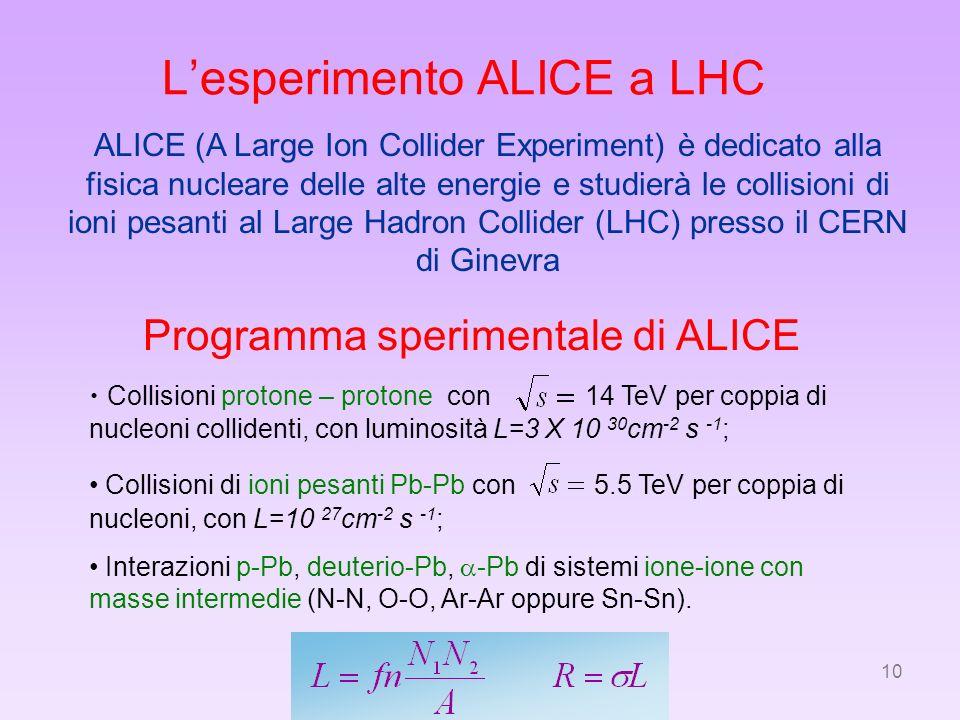 10 Lesperimento ALICE a LHC ALICE (A Large Ion Collider Experiment) è dedicato alla fisica nucleare delle alte energie e studierà le collisioni di ion