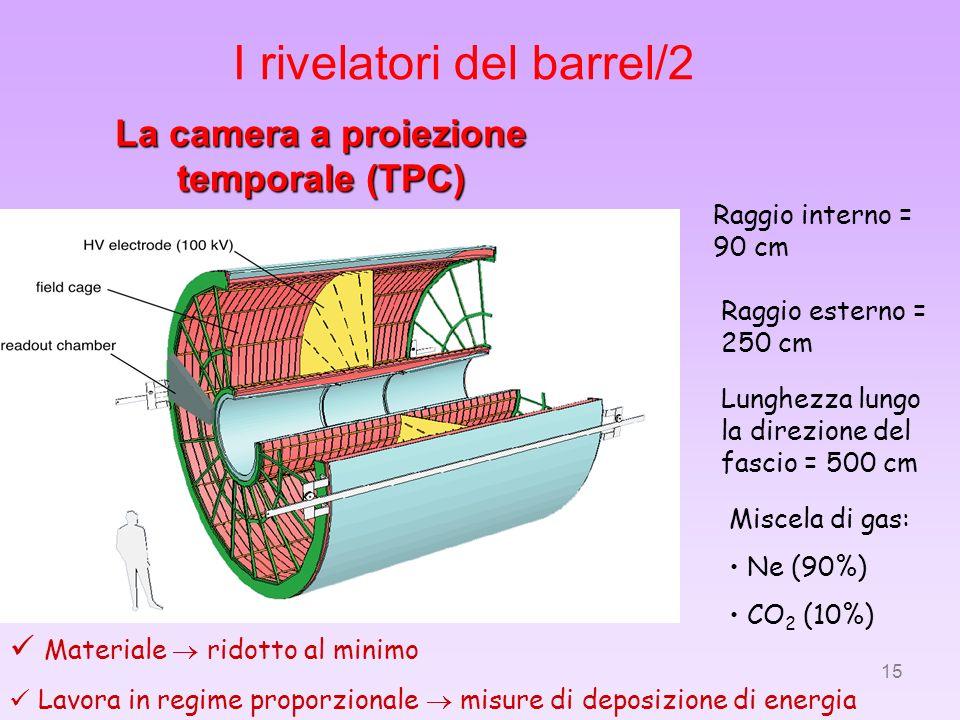 15 La camera a proiezione temporale (TPC) Raggio interno = 90 cm Raggio esterno = 250 cm Lunghezza lungo la direzione del fascio = 500 cm Miscela di g