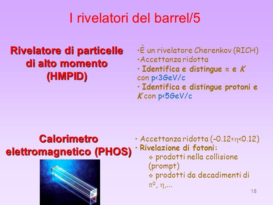 18 I rivelatori del barrel/5 Calorimetro elettromagnetico (PHOS) Rivelatore di particelle di alto momento (HMPID) È un rivelatore Cherenkov (RICH) Acc