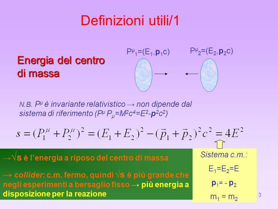 3 Definizioni utili/1 Energia del centro di massa P µ 1 =(E 1,p 1 c) P µ 2 =(E 2,p 2 c) Sistema c.m.: E 1 =E 2 =E p 1 = - p 2 m 1 = m 2 N.B. P µ è inv