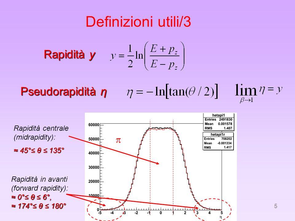 5 Definizioni utili/3 Rapidità y Pseudorapidità η Rapidità centrale (midrapidity): 45° θ 135° 45° θ 135° Rapidità in avanti (forward rapidity): 0° θ 6