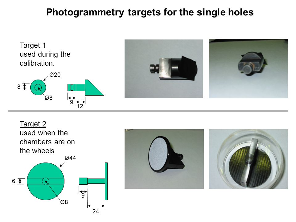 Photogrammetry targets for the single holes Target 1 used during the calibration: Target 2 used when the chambers are on the wheels Ø Ø8Ø8 Ø Ø8Ø8 9 9