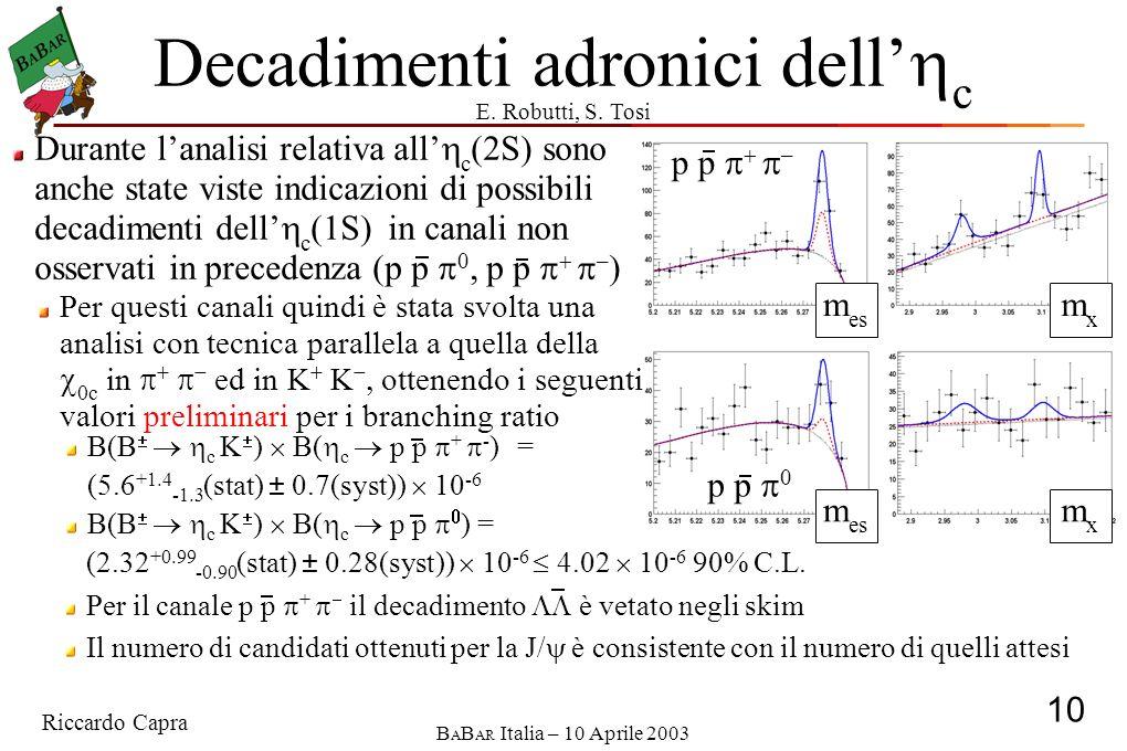 Riccardo Capra 10 B A B AR Italia – 10 Aprile 2003 p p 0 p p – Decadimenti adronici dell c (2.32 +0.99 -0.90 (stat) ± 0.28(syst)) 10 -6 4.02 10 -6 90% C.L.
