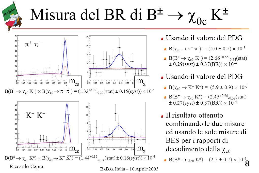 Riccardo Capra 9 B A B AR Italia – 10 Aprile 2003 c (2S) in modi adronici La ricerca dell c (2S) è stata condotta ricostruendo i processi B c (2S) K ± con l c (2S) che decade in: ( ) p p p K K 0 K s ( ) K ± Da finalizzare I dati vengono suddivisi in intervalli da 10 MeV nella massa invariante degli adroni dello stato finale Il numero di candidati è ottenuto da un UML fit nel piano m es E ev m es :Gaussiana+Bg Argus ev :Gaussiana+Bg Lineare E.