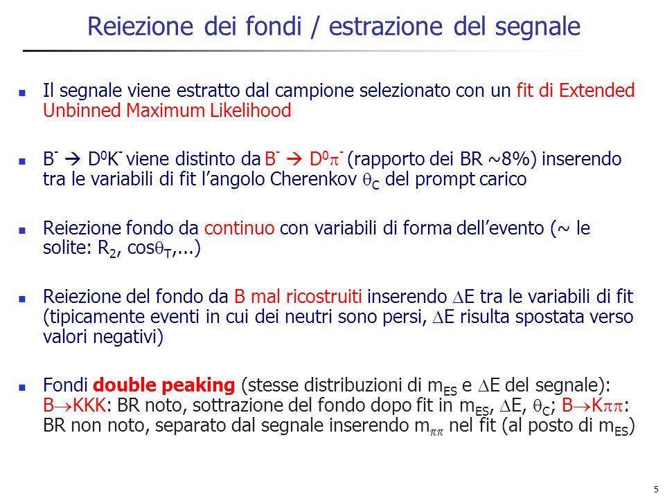 5 Reiezione dei fondi / estrazione del segnale Il segnale viene estratto dal campione selezionato con un fit di Extended Unbinned Maximum Likelihood B - D 0 K - viene distinto da B - D 0 - (rapporto dei BR ~8%) inserendo tra le variabili di fit langolo Cherenkov C del prompt carico Reiezione fondo da continuo con variabili di forma dellevento (~ le solite: R 2, cos T,...) Reiezione del fondo da B mal ricostruiti inserendo E tra le variabili di fit (tipicamente eventi in cui dei neutri sono persi, E risulta spostata verso valori negativi) Fondi double peaking (stesse distribuzioni di m ES e E del segnale): B KKK: BR noto, sottrazione del fondo dopo fit in m ES, E, C ; B K : BR non noto, separato dal segnale inserendo m nel fit (al posto di m ES )