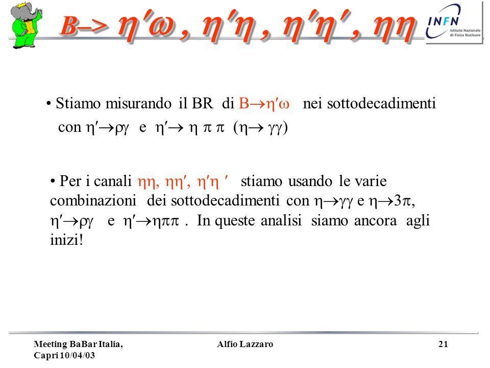 Meeting BaBar Italia, Capri 10/04/03 Alfio Lazzaro21 B–> Stiamo misurando il BR di B nei sottodecadimenti con e ( Per i canali stiamo usando le varie combinazioni dei sottodecadimenti con e 3, e In queste analisi siamo ancora agli inizi!